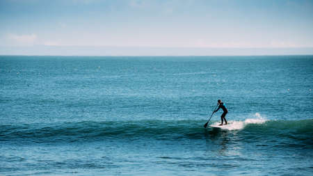 Silhouette of unidentifiable man catching a wave while on a stand up paddle board Banco de Imagens