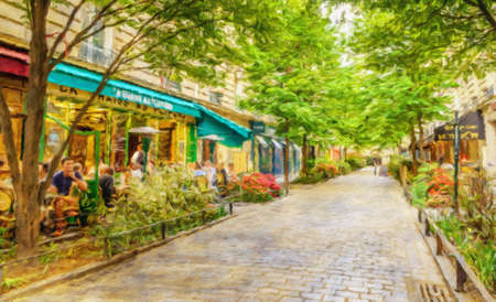 Paris, France in the spring watercolour style oil-paint