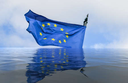 Flag of European Union in a flood with reflection - conceptual art