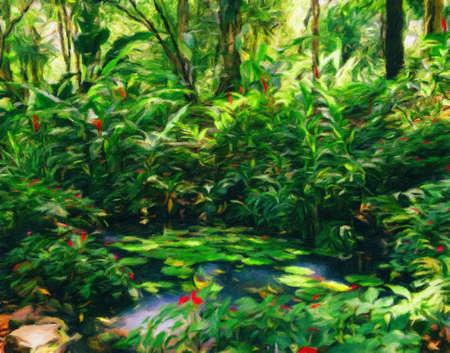 Water lillies in tropical Brazilian rain forest