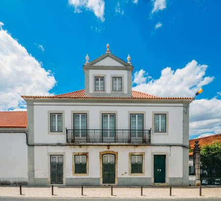 Facade of house in traditional Portuguese architecture style in the village of Azeitao, Portugal
