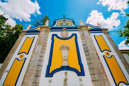 Vintage and colorful stone fountain in Azeitao village, Setubal, Portugal