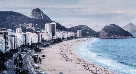 Digital manipulation of Copacabana Beach, Rio de Janeiro, Brazil covered in snowfall
