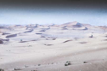 Digital manipulation of light snowfall in the desert - Extreme Climate Change concept Banco de Imagens