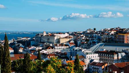 Lisbon, Portugal overlooking Baixa neighbourhood with major landmarks visible Banco de Imagens