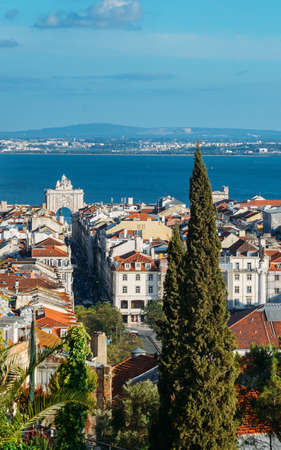 Lisbon, Portugal overlooking Baixa neighbourhood with major landmarks visible Banque d'images