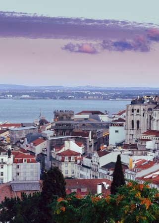 High perspective view of Santa Justa elevator in Baixa downtown district of Lisbon, Portugal Banco de Imagens