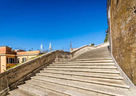 Wide angle view of the steep slope Spanish Steps in Rome, Italy with copy space