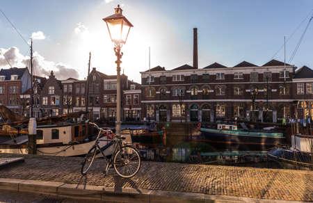 Old historic district Delfshaven in Rotterdam Netherlands