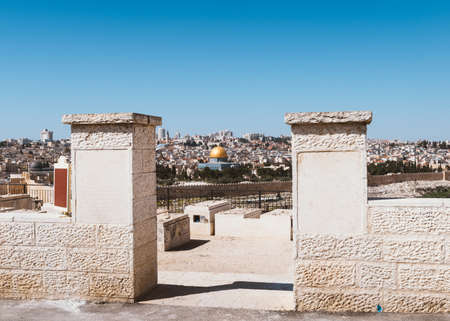 Old Jerusalem Panorama from Mount of Olives Stock Photo