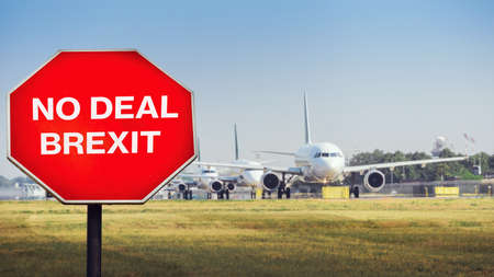 No Deal Brexit digital composite with row of airplanes in background