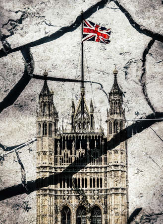 Houses of Parliament and Victoria Tower in London superimposed with cracks 写真素材