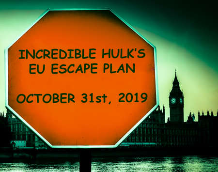 Incredible Hulks EU escape plan set for Octobet 31st, 2019 according to Boris Johnson with Houses of Parliament, London in background