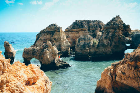 Panoramic view, Ponta da Piedade near Lagos in Algarve, Portugal Фото со стока