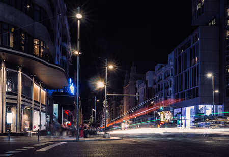 Gran Via, Madrid, Spain at night - long exposure