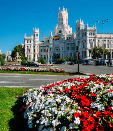Madrid City Hall at Plaza de Cibeles, in Madrid, Spain. Architectural examples of gothic style with neoclassical elements
