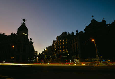 Madrid, Spain long exposure cityscape at Calle de Alcala and Gran Via