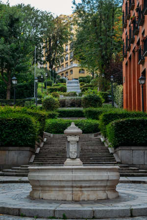 Picturesque fountain and stairs in Madrid, Spain