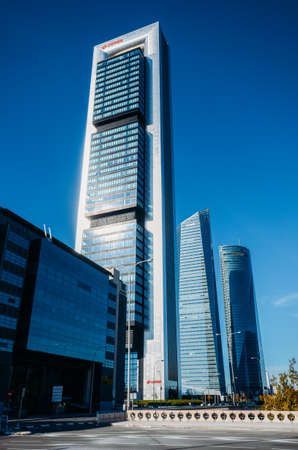 Four Towers or Cuatro Torres financial district in Madrid, Spain 에디토리얼