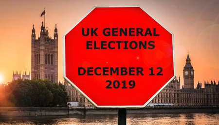 UK General Elections set for December 12, 2019 message with Houses of Parliament, London in background