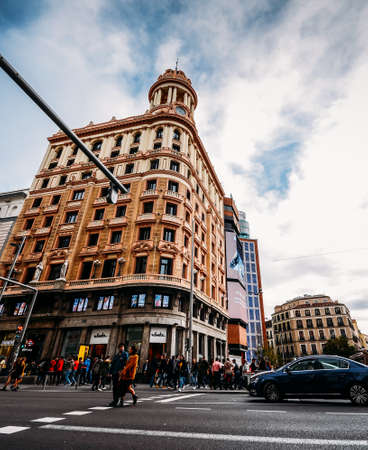 Gran Via street in Madrid, Spain. Europe - wide angle