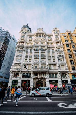 Gran Via street in Madrid, Spain. Europe - wide angle