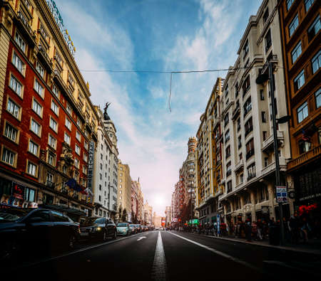 Madrid, Spain - Nov 2, 2019: Gran Via street in Madrid, Spain Europe - wide angle Editöryel