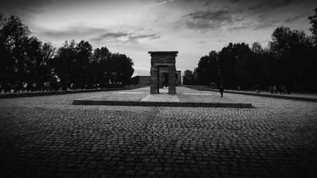 Madrid, Spain - Nov 2, 2019: The Temple of Debod is an ancient Egyptian temple which was rebuilt in Madrid, Spain