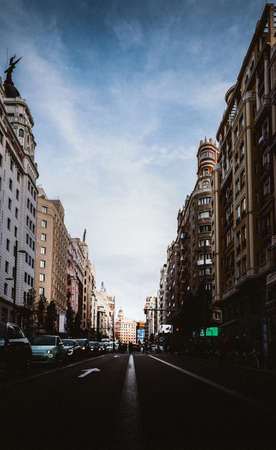 Gran Via street in Madrid, Spain Europe - wide angle