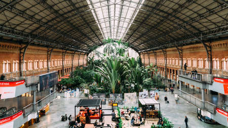Original 19th century Atocha Railway Station in Madrid, Spain, is now a concourse with shops, cafes and a botanical garden forming the entrance to the new station Editöryel