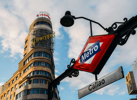 Detail of the sign of Callao metro station in Madrid, Spain, with a retro effect 에디토리얼