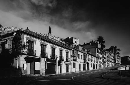 Monochrome fine art style of old buildings in Segovia, Spain.