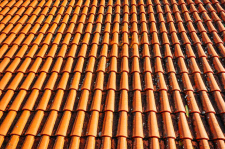 Brightly lit red tiles roof for background.