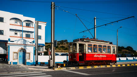Sintra tramway is a narrow gauge tourist tram line that runs from Sintra to Praia das Macas on the coast, Portugal 에디토리얼