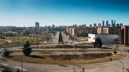 View of Sanchinarro suburban neighbourhood looking towards the Cuatro Torres Business district in Madrid, Spain