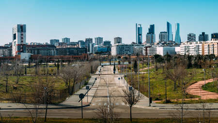 View of Sanchinarro suburban neighbourhood looking towards the Cuatro Torres Business district in Madrid, Spain.