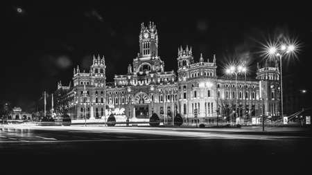 Plaza de Cibeles at night, Madrid, Spain. The Plaza de Cibeles is a square with a neo-classical complex of marble sculptures with fountains that has become an iconic symbol for the city of Madrid