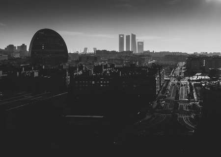 Fine art monochrome view of cityscape of Madrid, Spain looking south from Las Tablas neighbourhood