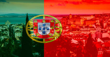 Lisbon, Portugal landmarks with superimposed Portuguese flag on foregeround Stok Fotoğraf