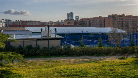 Padel sports centre in Las Tablas, Madrid, Spain. A popular racket sport in Spain