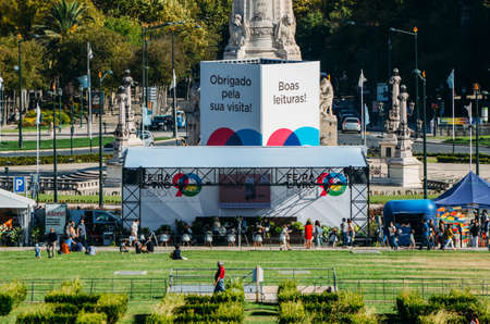 People attend the Lisbon Book Fair held annually in the Eduardo VII Park, Lisbon, Portugal