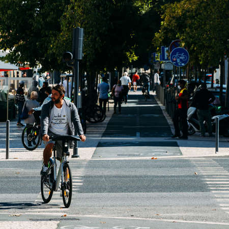 Bicycle lane in an urban street in Lisbon, Portugal