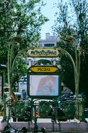Paris-style vintage Metro entrance sign in Lisbon, Portugal