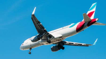 Eurowings Airbus A319 D-ABGQ passenger plane against blue sky