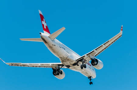 Airplane of Swiss International Air Lines AG agains blue sky