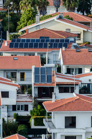 Solar panels on a house roofs