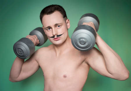 without clothes: The guy with the weights