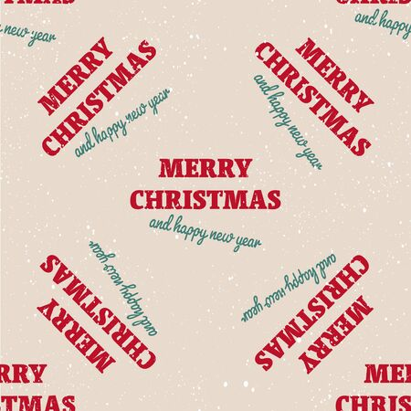Merry Christmas and Happy New Year seamless pattern. Season greetings typography with hand drawn design elements for wrapping paper prints decoration needs. Vector vintage illustration.