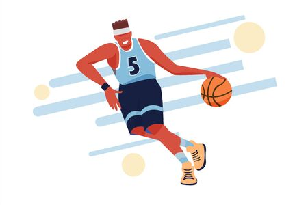Basketball player. Sport Vector flat illustration for banners or templates Illusztráció