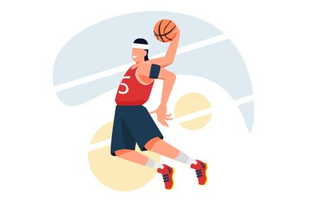 Basketball player make dunk. Sport Vector flat illustration for banners or templates Illusztráció